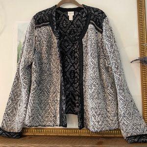 Chico's 3 Blazer Jacket Sweater Coat Wool Blnd